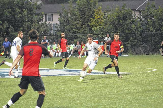 SSU's Caspar Nolte looks to create some offense in the first half against Bluefield. Nolte scored two goals for the Bears.