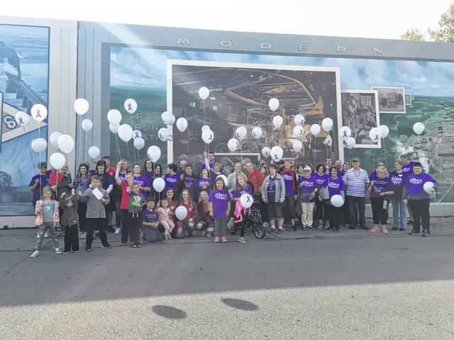 Walk participants pause for a photo before releasing their Alpha-1 balloons.