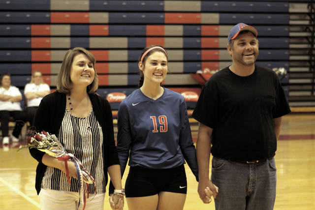 Portsmouth's Katie Fannin (19) was one of six seniors honored on senior night.