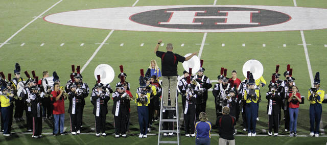The Oak Hill and Clay high school marching bands performed together at halftime of last Friday's game between East and Oak Hill.