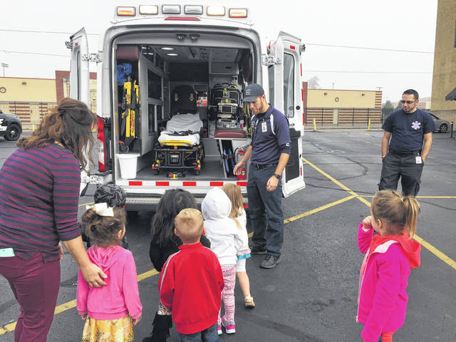 Students got to take a look around inside an ambulance.