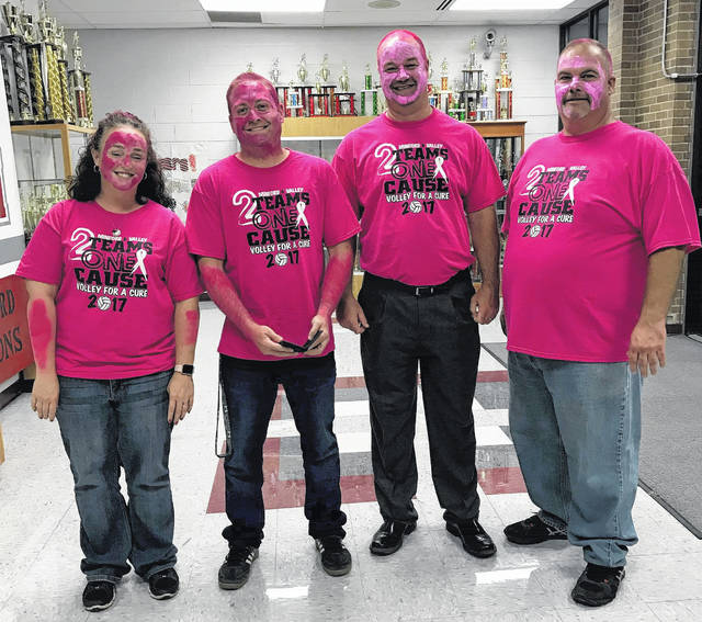 Kristin Ruby Minford MS Assistant Principal, Aaron Franke, Valley MS Principal, Scott Rolfe Valley Superintendent, and Dennis Evans Minford MS Principal Painted Pink.