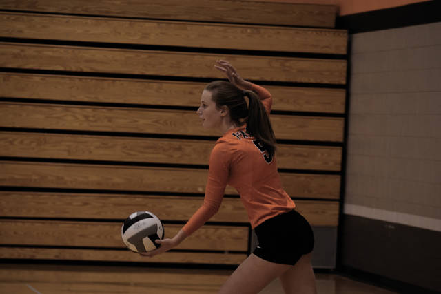 Wheelersburg's Alli McQuay attempts to serve a ball during a prior contest.