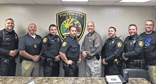 Left to Right - Sgt. Robinson, Sgt. Hedrick, Ofc. Fischer, Ofc. Cooper, Chief Ware, Ofc Swords, Ofc. Culbertson, Ofc. Stewart participating in No Shave November