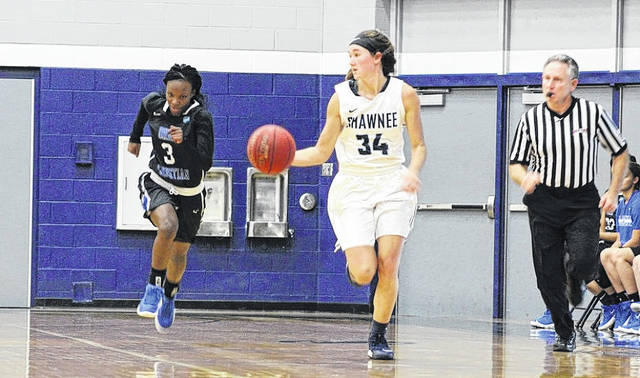 SSU's Bailey Cummins brings the ball up the floor on a fastbreak opportunity.