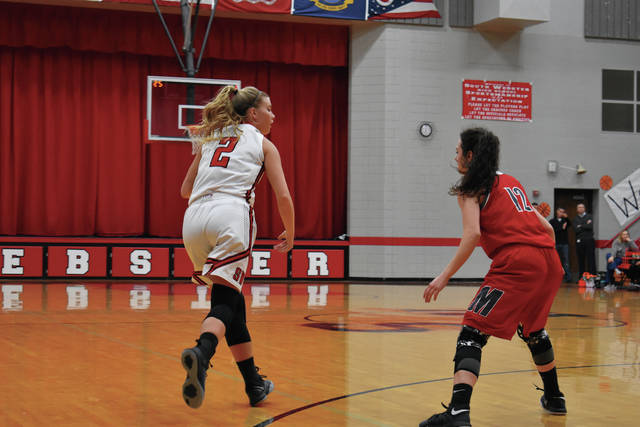South Webster's Ellie Jo Johnson looks to find a scoring chance against a tough Falcons defense.