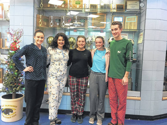 Members of Student Council who spoke of the program, in their PJ's, Sydney Osborn, Alicia Bobst, Hunnter Adams, Regan Osborn, and Keith Cottle