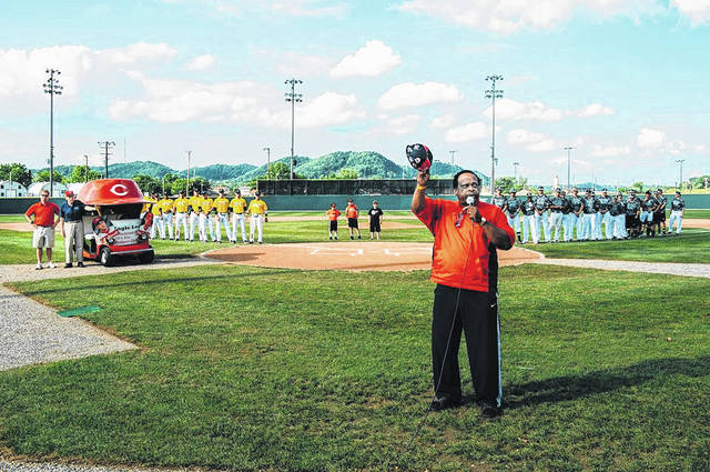 Portsmouth native Al Oliver speaks to the crowd in attendance at the Gene Bennett Baseball Classic in 2014. Oliver, a Portsmouth High School graduate, has been a constant fixture in the community and at sporting events throughout his lifetime.