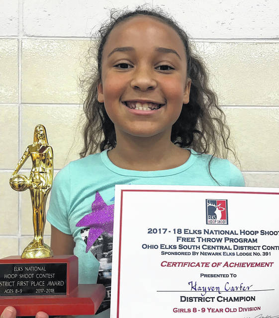 Franklin Furnace native Hayven Carter won the 8-9 year-old division of the district Elks' hoop shoot this past Saturday in Newark. Hayven is the daughter of DJ and Abby Carter and is a third-grade student at Portsmouth Elementary.
