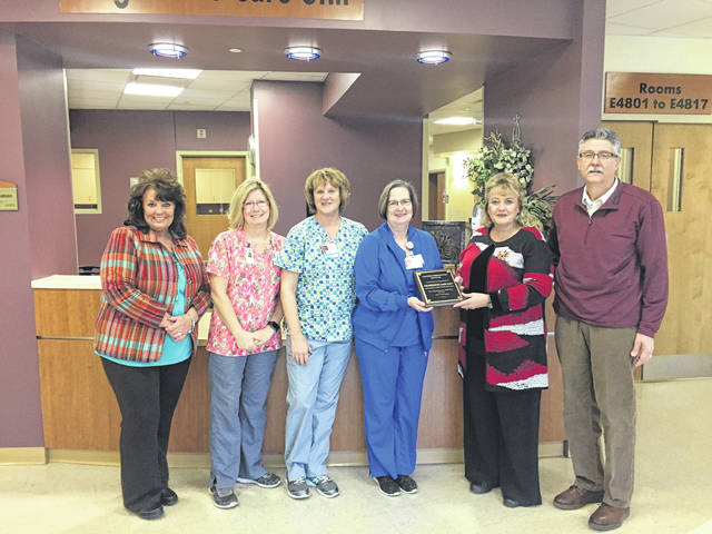 (Left to right) Wendy Williams Marekting LRS, Hoover Clinical Nurse Educator, Jill Byler Assistant Nurse Manager, Linda Horner Nurse Manager, Mildred & Phil Sandlin, Owners LRS.