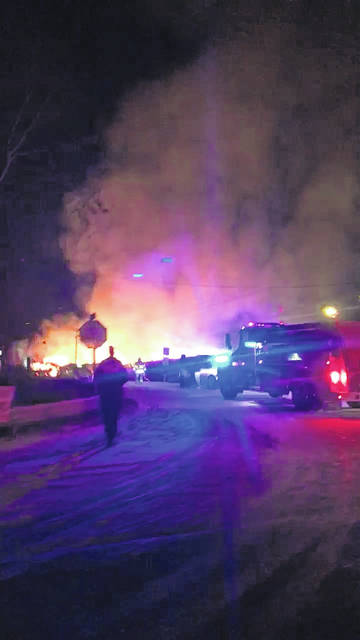 First responders worked in cold temperatures to extinguish the fire.