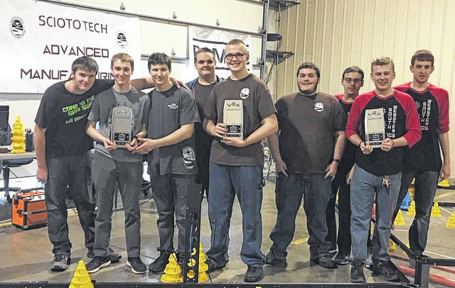 Students from the Scioto County Career and Technical Center robotics program, Northwest satellite robotics program, and South Webster robotics program after placing to go to the state competition.