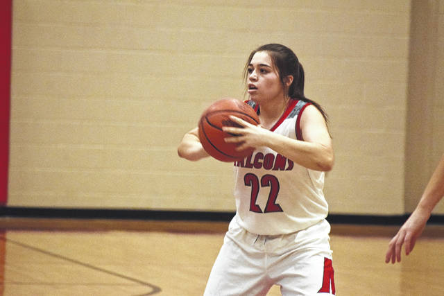 Maddie Slusher passes the ball to a teammate during a prior contest.