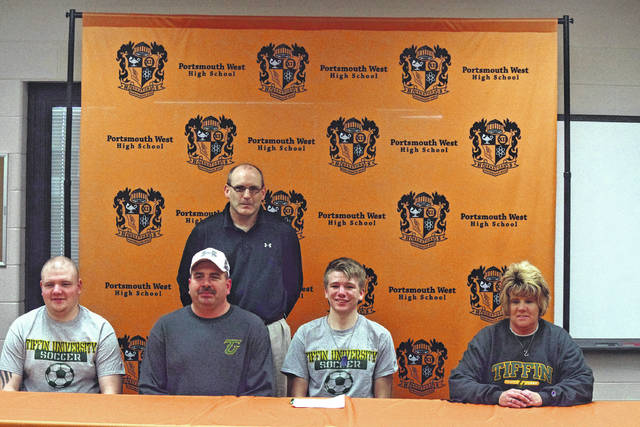 West goalkeeper Dalton Meyers signed with Tiffin in front of family and friends on Friday afternoon at West High School. Meyers will play at the same position with the Dragons.