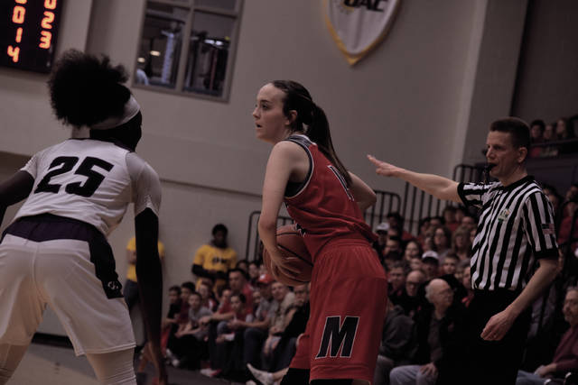 Minford's Makenzie Watters looks to move the basketball around on the left side of the floor.
