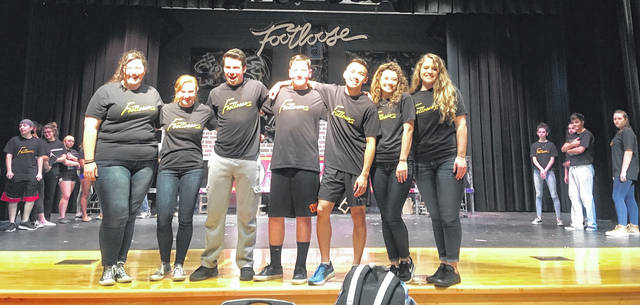 """Performers for """"Footloose"""" include (from left) Hannah Newman, Katy Todt, Luke Miler, Jacob Lore, Jason Nham, Jenna Young and Natalie Percell."""