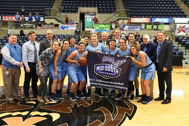 The 2017-18 Shawnee State Bears celebrate with their Mid-South Conference Tournament Championship banner.