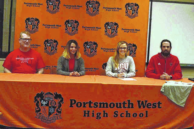West senior Karlee Leavitt (second from right) signed to play with the Kentucky Christian University women's soccer program on Wednesday evening.