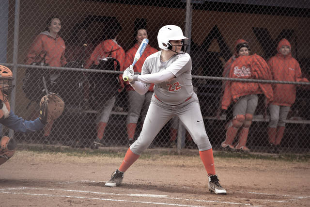 New Boston's Taylen Hickman starts her swing on Wednesday evening.
