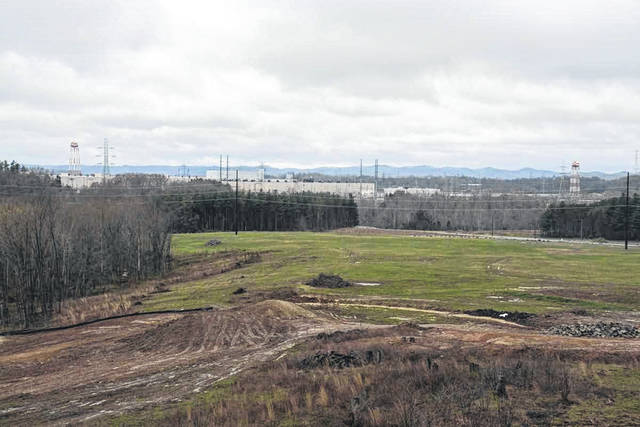 The proposed permanent debris storage facility will sit on the edge of the current Piketon A-plant site. From this angle, the Village of Piketon can be seen in the background. Somewhere, not far from the storage facility, sits an existing municipal trash dump.