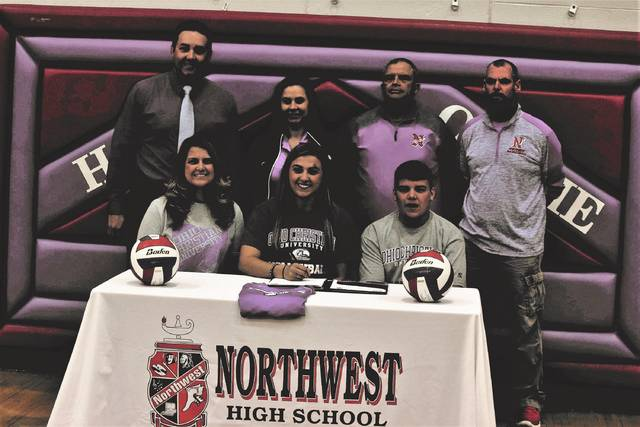 Northwest's Abby Baer officially signed to play with the Ohio Christian University volleyball and girls basketball programs on Monday evening in a signing ceremony held at Northwest High School.