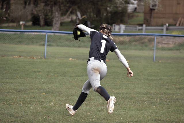 Notre Dame's Molly Hoover makes a sensational backhanded catch against Clay on Thursday evening.