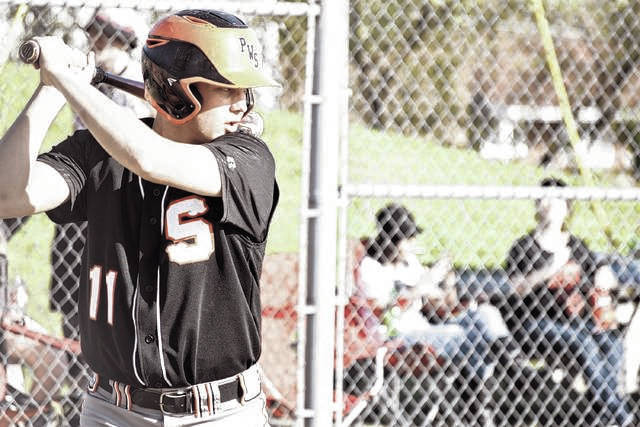 West's Cade McNeil stands in at the plate during a prior contest.