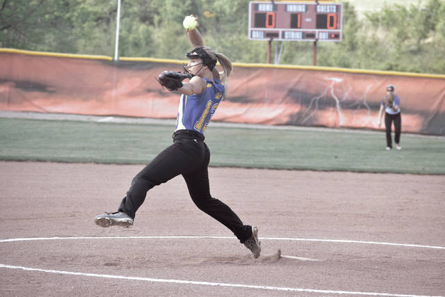 Clay's Hannah Oliver throws a pitch on Tuesday evening against Rio Grande.