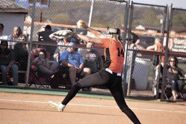 Wheelersburg's Sydney Spence threw eight innings of two-run softball and struck out 11 batters while walking only three Waverly players in another strong outing. The clutch performance allowed the Lady Pirates to obtain the SOC II title outright.