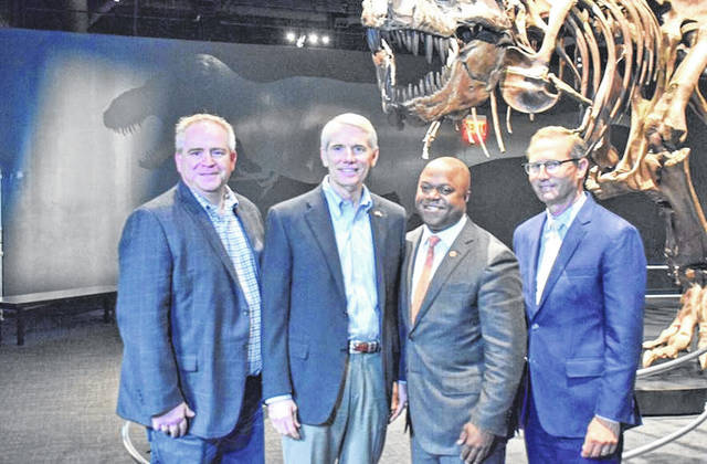 """U.S. Senator Rob Portman (second from left) with other participants in Saturday's """"Future of Workforce"""" panel discussion."""