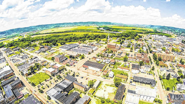 An aerial photo of Portsmouth, which is celebrated as a resilient, hardworking community.