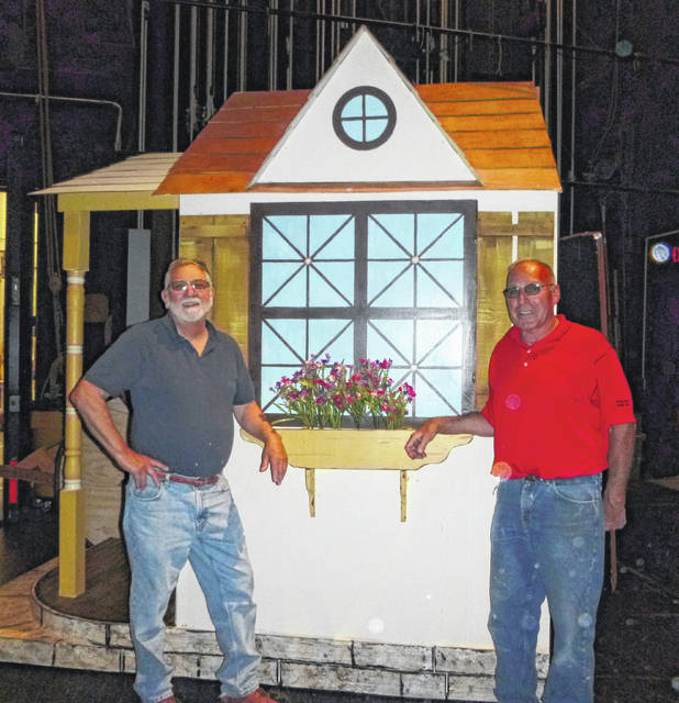 "Gary Tieman (left) and Ed Ingles in front of Belle's cottage that they constructed for ""Beauty and the Beast."""