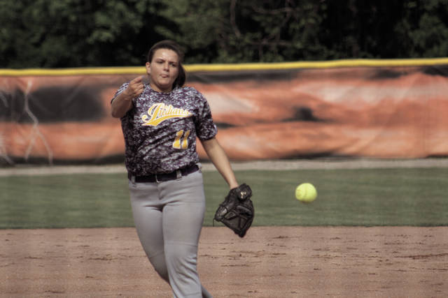 Faith Brown delivers a pitch early in the game.
