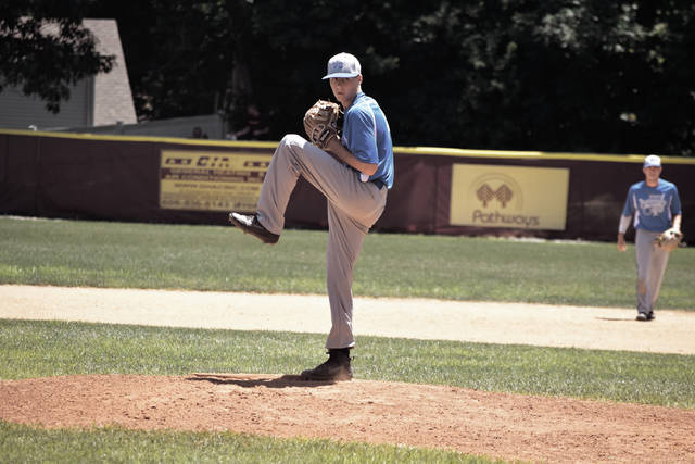 Reid Shultz threw a complete game two-hitter and struck out four in Post 23's 14-2 win over Russell Post 325 in five innings.