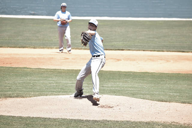 Post 23's Tanner Kimbler throws a pitch on Saturday afternoon.
