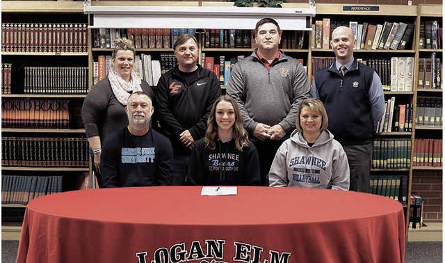 Logan Elm's Macie Rhoads signed with Shawnee State in a signing ceremony that was held inside the halls of Logan Elm High School.