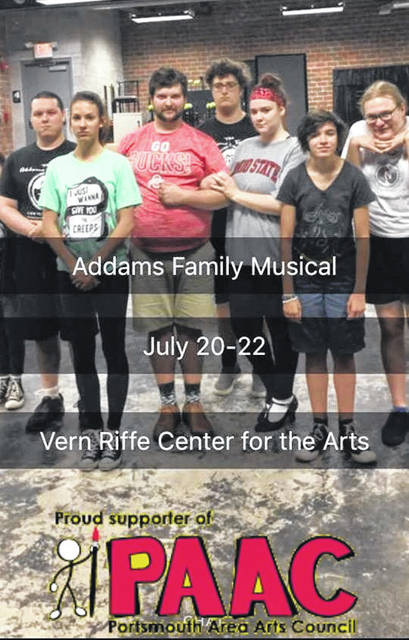 Some of the main characters in The Addams Family (L to R) Tyler Stump, Julianna Parlin, Drew Cunningham, Xavier Camden, Bailey Hartlage, Anna Lovins, Elizabeth Elrod