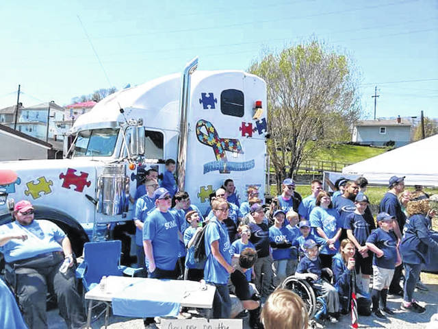 Mark Hall's Autism Truck with the kids at the Autism Walk