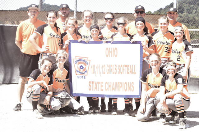 The Wheelersburg 11-12 year-old Softball All-Stars with their state championship banner.