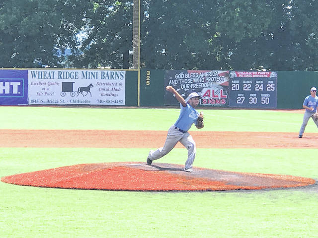 Isaiah Greene throws a pitch against Post 62