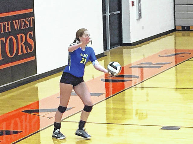 The Clay Panthers defeated the Portsmouth West Senators Monday evening in straight sets in an inter-conference match.