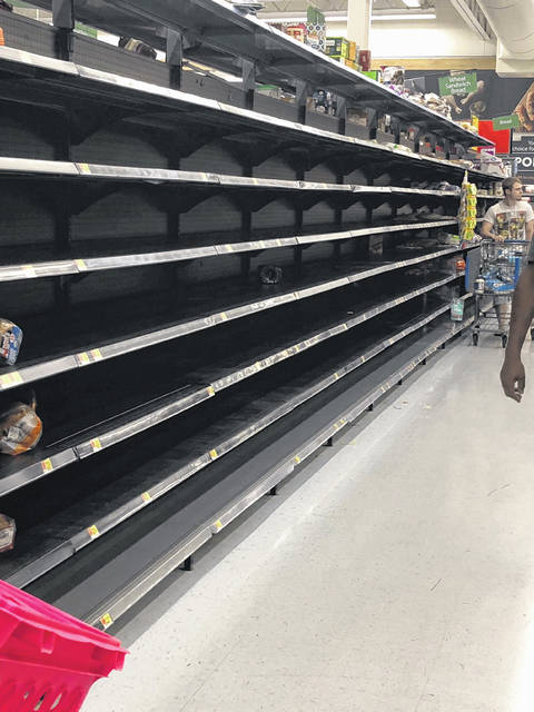 Shelves in the local grocery store in North Carolina where Shelby King now lives, are completely empty ahead of Hurricane Florence. King and her family have opted to ride out the storm that is expected to hit shore this weekend.
